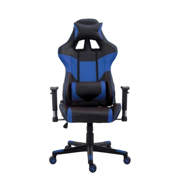 Chaise de bureau gamer racer bleu for Chaise de bureau bleu